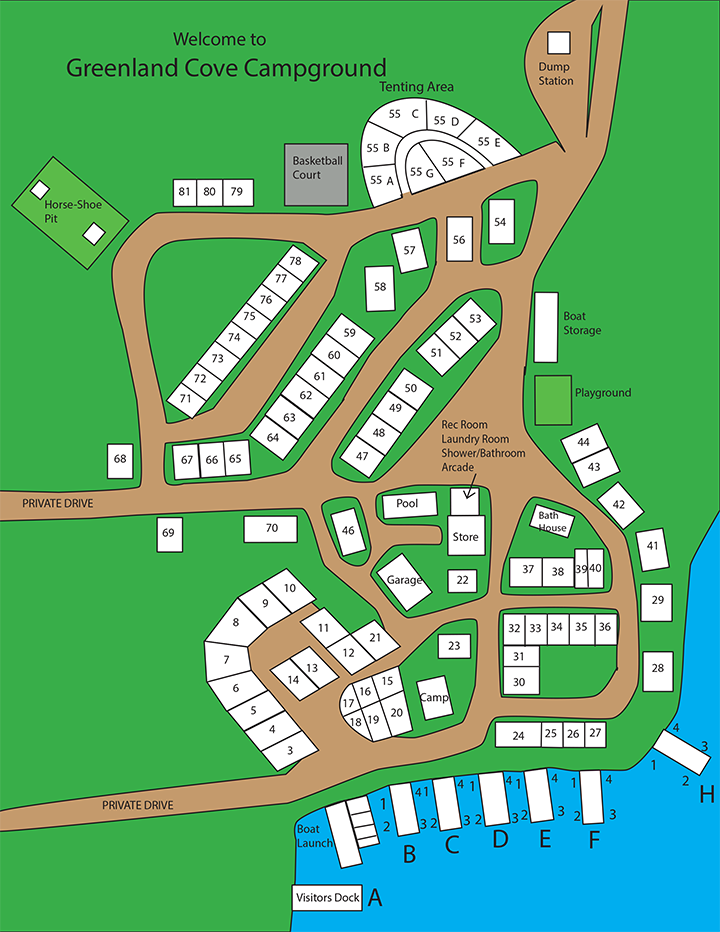 Greenland Cove Campground Map Color