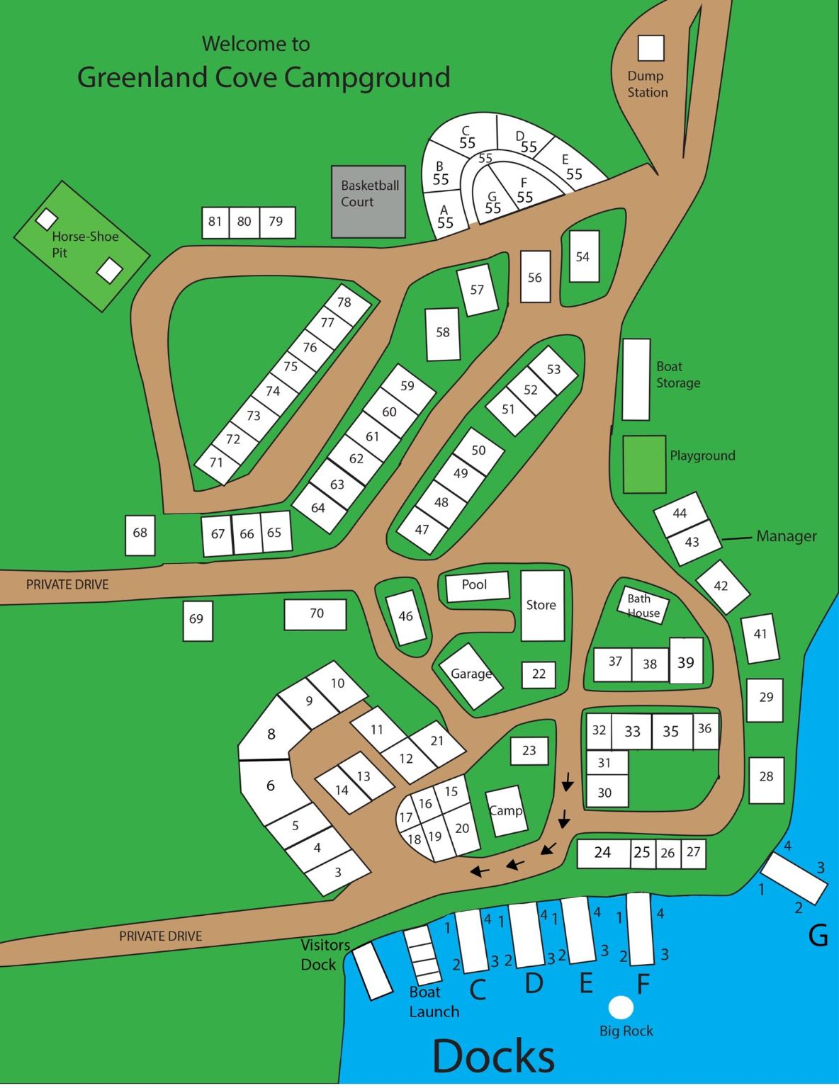 Map & Rates | Greenland Cove Campground
